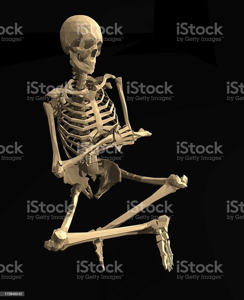 Skeleton Meditates in an Indian Style Sitting Position royalty-free stock photo