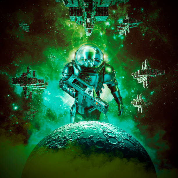 Skeleton military astronaut warrior 3D illustration of science fiction scene showing evil skull faced astronaut space soldier with laser pulse rifle rising above moon and fleet of spaceships in the background trooper stock pictures, royalty-free photos & images