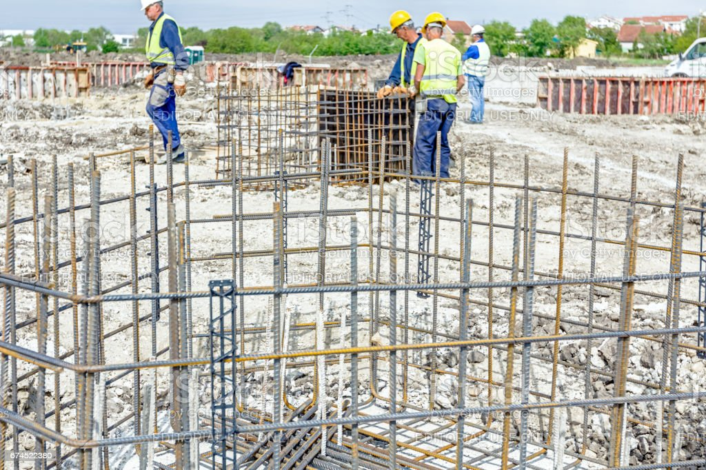 Skeleton of reinforcing steel, armature at construction site stock photo