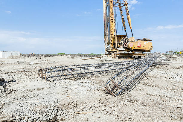 skeleton of reinforcing steel, armature, bar at construction sit - pillar drill stock photos and pictures