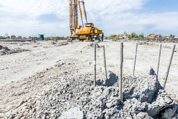 skeleton of reinforcing steel, armature, bar at construction site - pillar drill stock photos and pictures