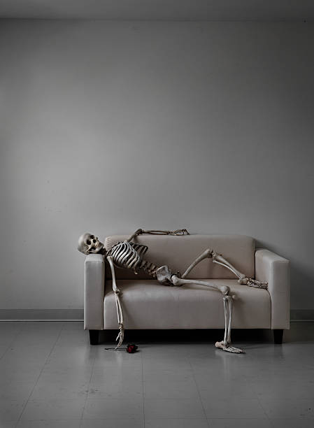 skeleton on a couch - human skeleton stock photos and pictures