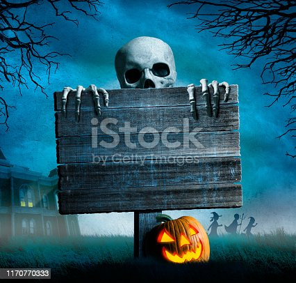 A skeleton peeks out from behind an old weathered sign in front of a large full moon.  A jack o'lantern rests at the base of the sign as children in the distance rush away from a haunted house.