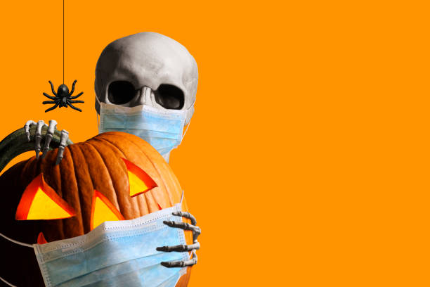 Skeleton Peeks Out From Behind A Jack O'Lantern As Both Wear Protective Face Mask A skeleton wraps its hands around and peeks out from behind an illuminated jack o'lantern as a spider hangs from its web isolated against an orange background.  Both the skeleton and the jack o'lantern wear a protective face mask in the time of Covid-19. halloween covid stock pictures, royalty-free photos & images