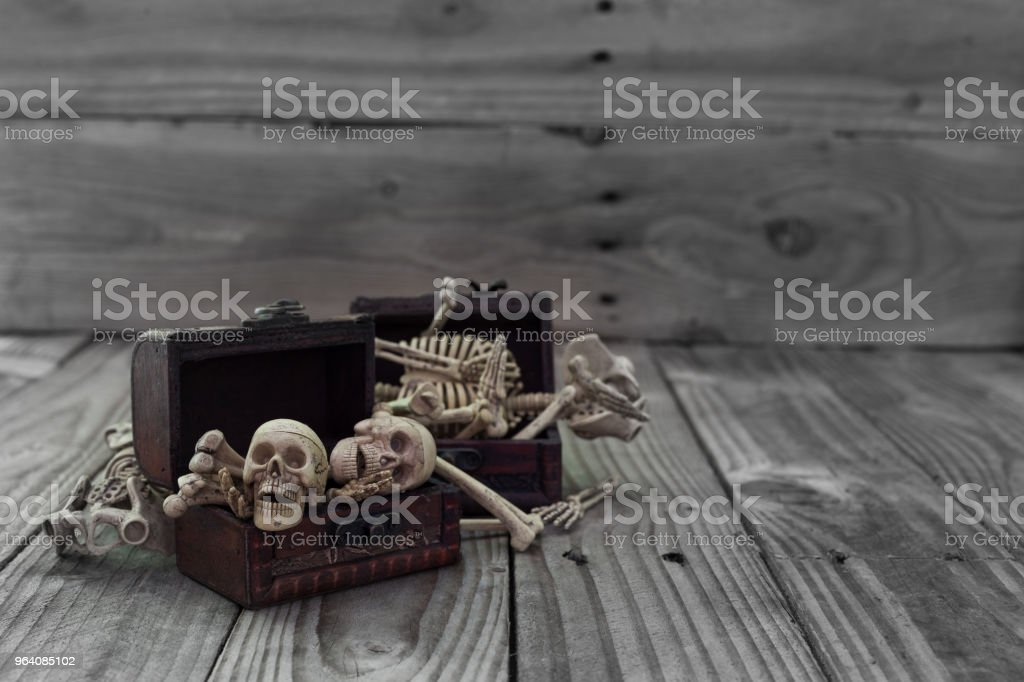 Skeleton pirate in a treasure chest and old wood floor background. - Royalty-free Ancient Stock Photo