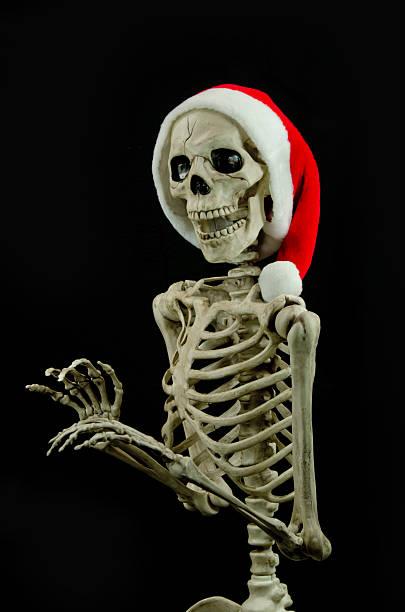 Christmas Skeleton.Best Christmas Human Bone Human Skeleton Santa Claus Stock