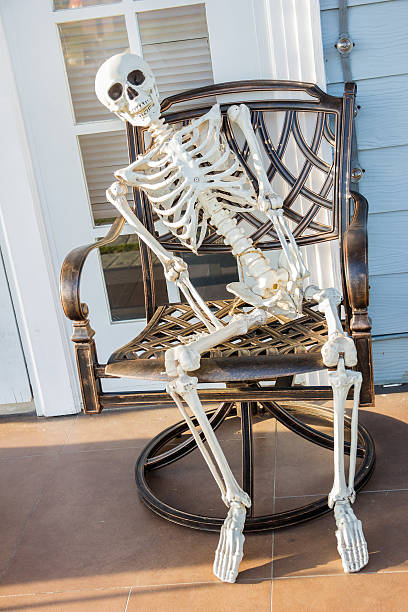 skeleton sit at the armchair and wait - human skeleton stock photos and pictures