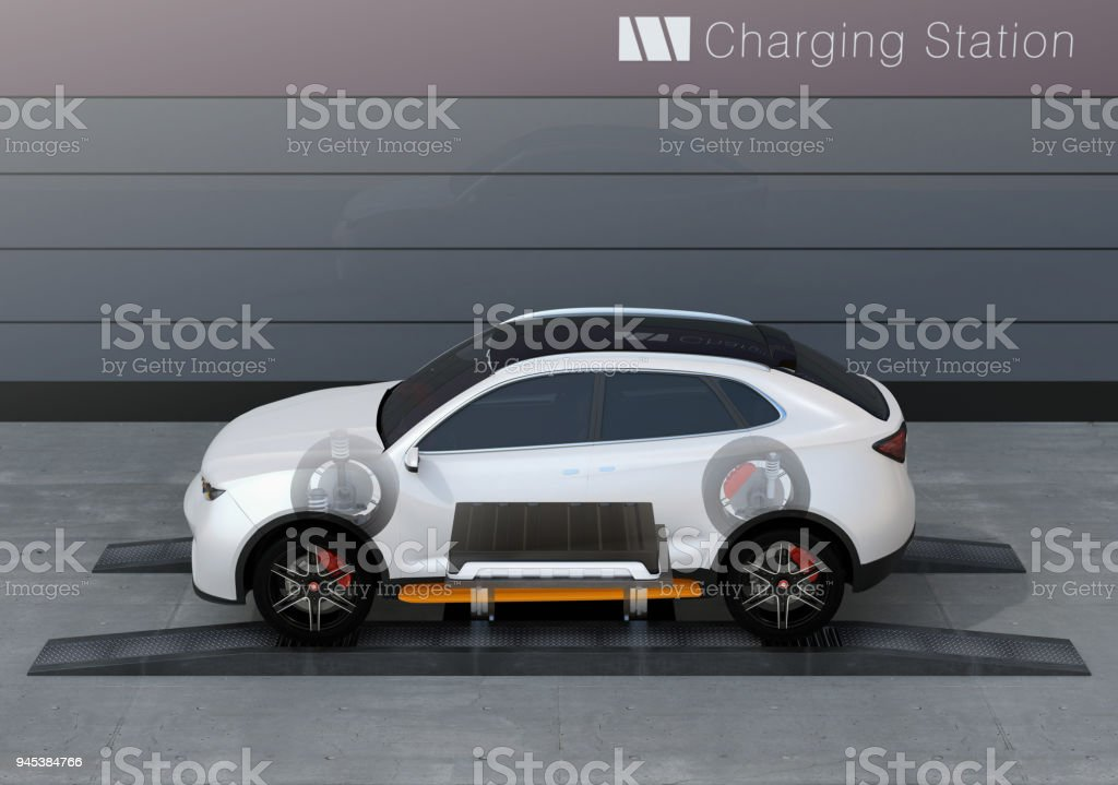Skeleton view of electric SUV car exchange battery in battery swapping station stock photo