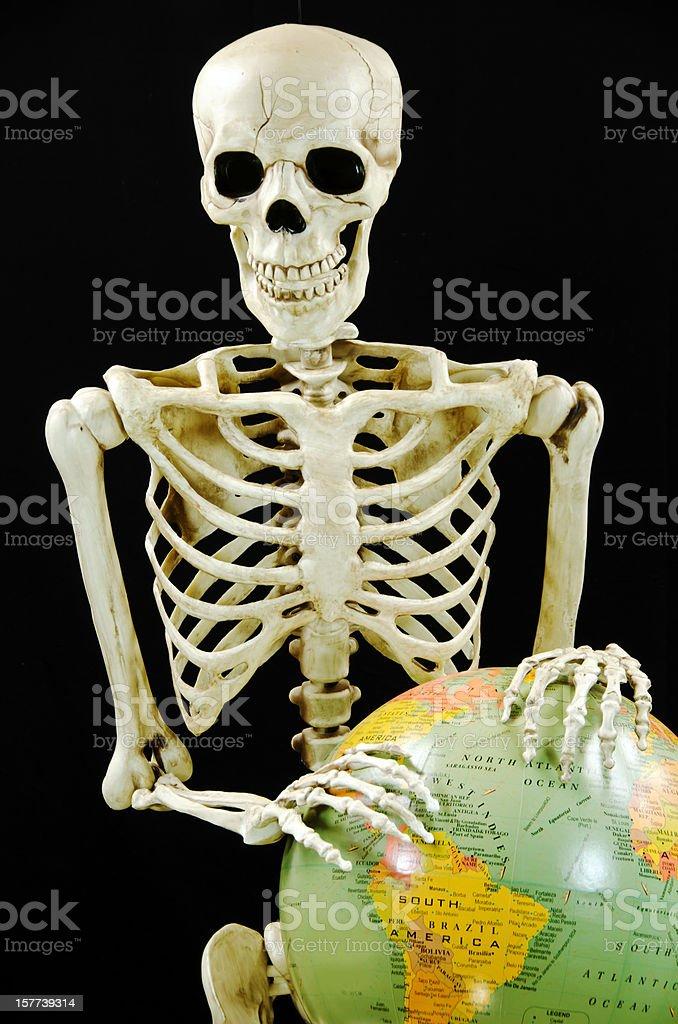 Skeleton with Globe ... South America royalty-free stock photo