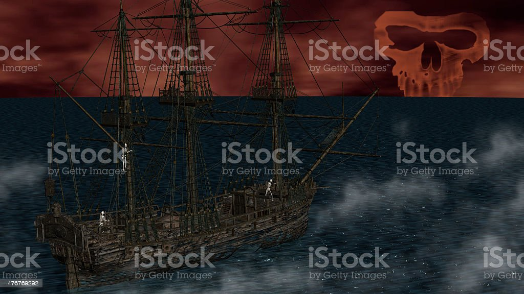 Skeletons in a ghost boat by night time stock photo