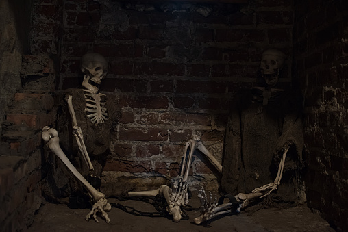 two skeletons in old prison