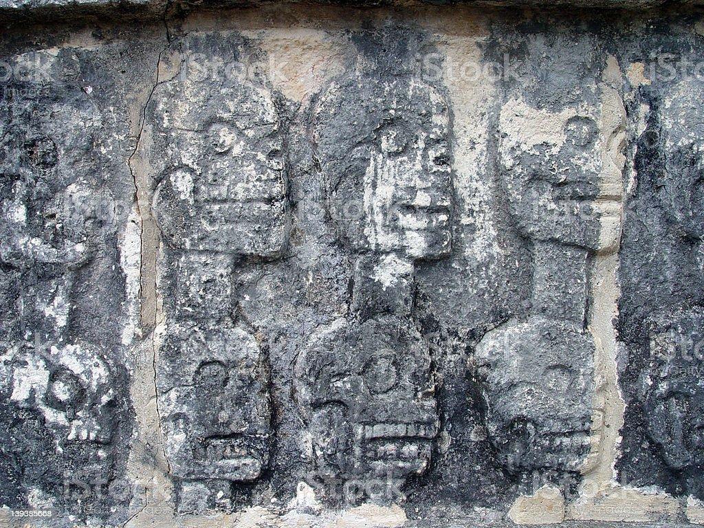 Skeleton/Skull Wall - Chichen Itza, MX stock photo