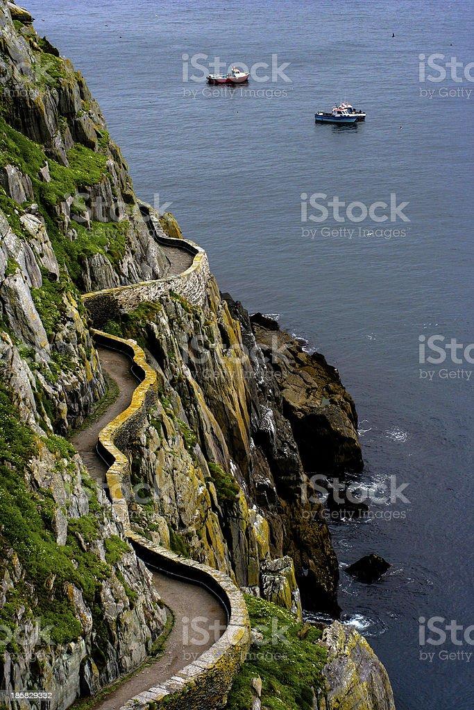 Skellig island walkway on cliffs royalty-free stock photo