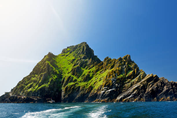 Skellig Michael or Great Skellig, home to the ruined remains of a Christian monastery. Inhabited by variety of seabirds. UNESCO World Heritage Site, Ireland. stock photo