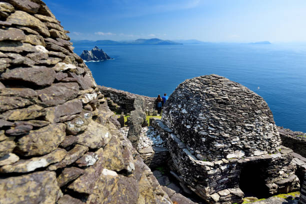 Skellig Michael or Great Skellig, home to the ruined remains of a Christian monastery, Country Kerry, Ireland stock photo