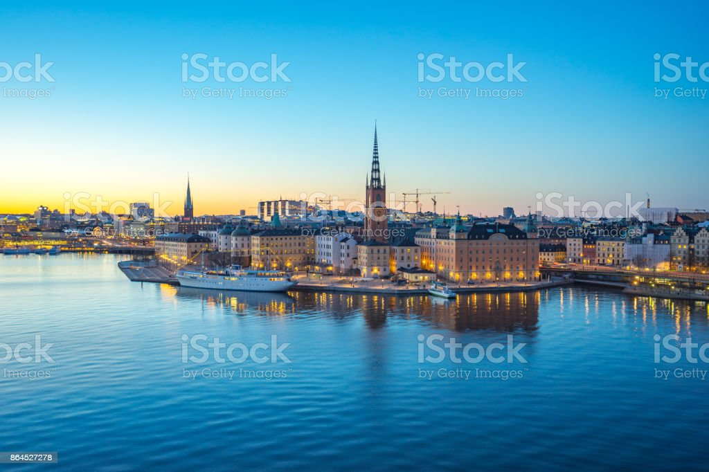 Skeppsbron in Gamla stan, the old town of Stockholm, capital of Sweden at night stock photo