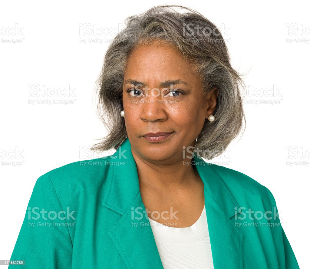Skeptical Mature Woman Looking At Camera royalty-free stock photo