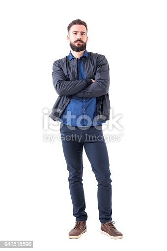 931173966istockphoto Skeptical suspicious uncertain bearded man with folded hands looking at camera. 942518596