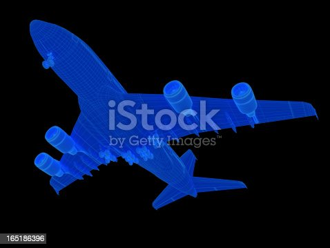 istock 3D Sketch Airplane A380 165186396