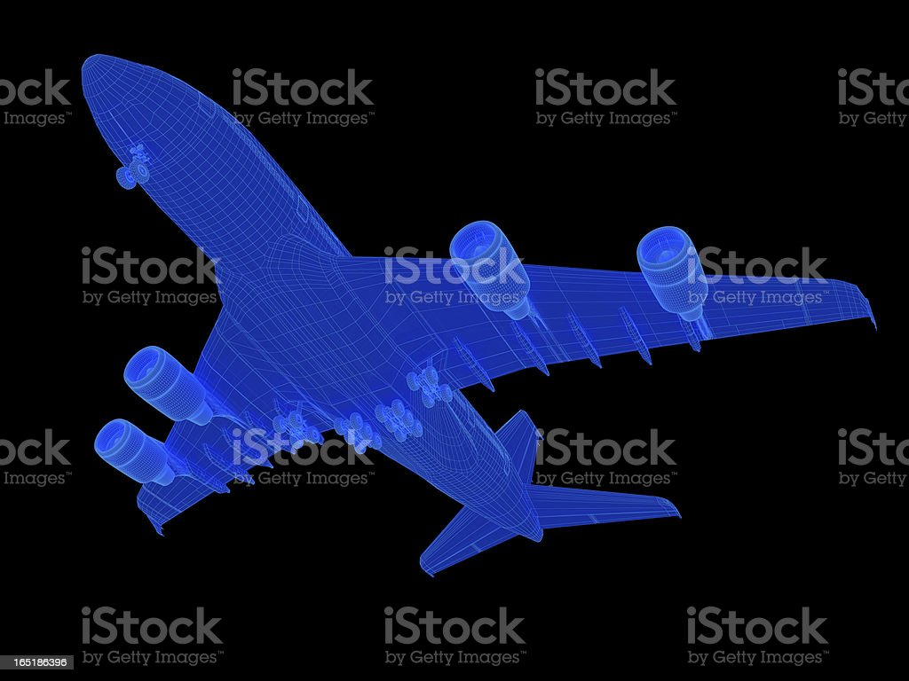 3D Sketch Airplane A380 stock photo