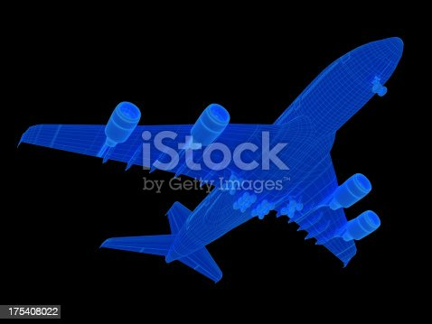 istock 3D Sketch Airplane A380 175408022
