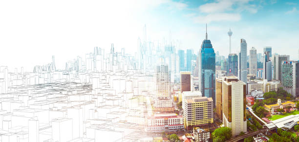 Sketch and real mix urban cityscape scene stock photo