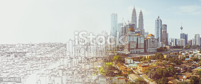 istock Sketch and real mix urban cityscape scene 988485792