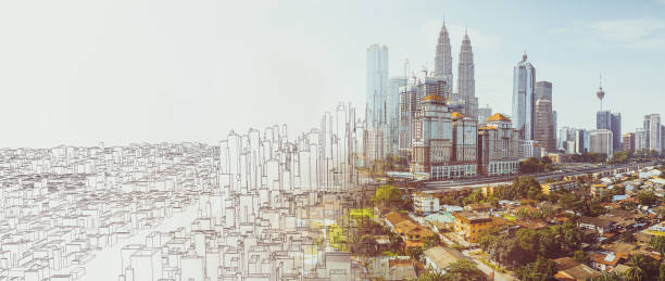 Sketch and real mix urban cityscape scene Sketch and real mix urban cityscape scene , development and real estate business concept , mixed media . business Malaysia stock pictures, royalty-free photos & images