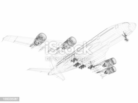istock 3D Sketch architecture abstract Airplane A380-01 155035081