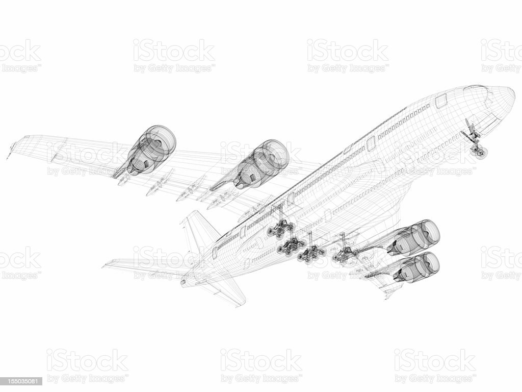 3D Sketch architecture abstract Airplane A380-01 stock photo
