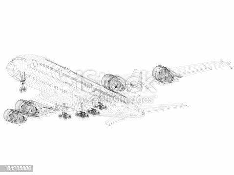 istock 3D Sketch architecture abstract Airplane A380-02 184285886