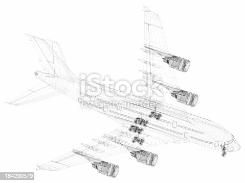 istock 3D Sketch architecture abstract Airplane A380-03 184290579