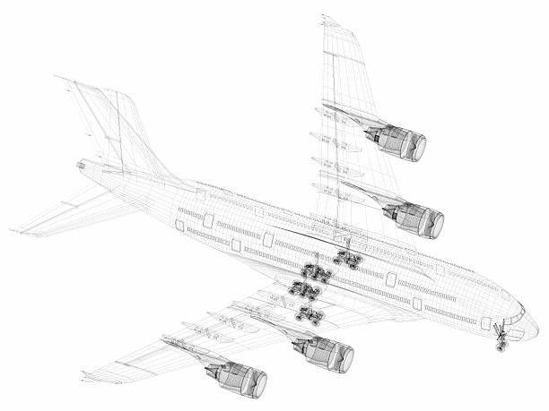 3D Sketch architecture abstract Airplane A380-03 stock photo