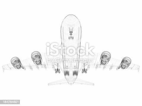 istock 3D Sketch architecture abstract Airplane A380-04 184284601