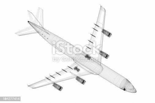 istock 3D Sketch architecture abstract Airplane 184277414