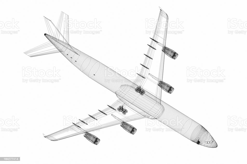3D Sketch architecture abstract Airplane stock photo
