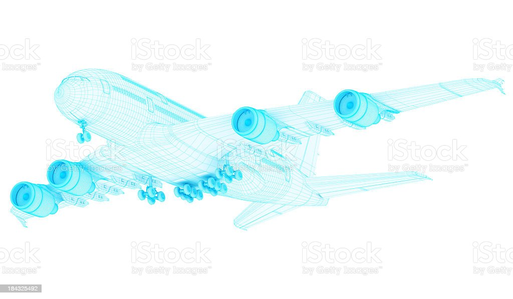 3D Sketch architecture abstract blue Commercial  Airplane  A380  1 stock photo