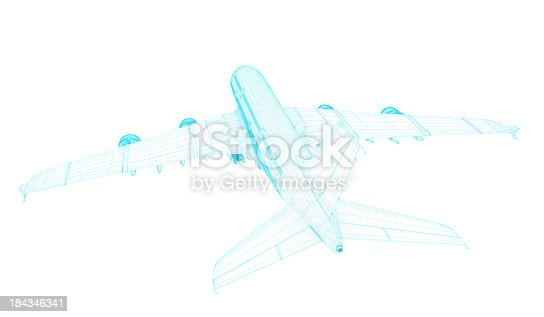 istock 3D Sketch architecture abstract blue Commercial  Airplane  A380 2 184346341
