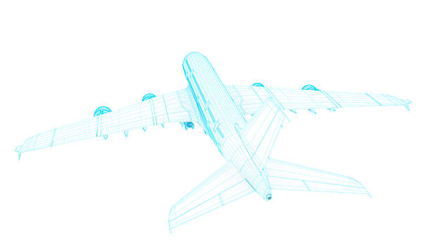 3D Sketch architecture abstract blue Commercial  Airplane  A380 2 stock photo