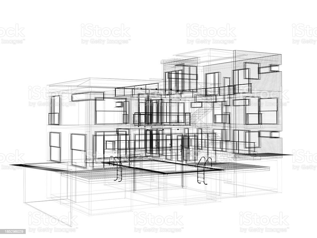 3D Sketch architecture abstract house stock photo