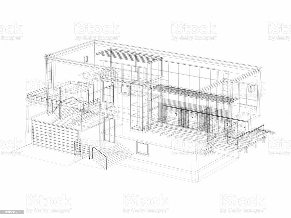 3D Sketch Architecture Abstract Villa Royalty Free Stock Photo