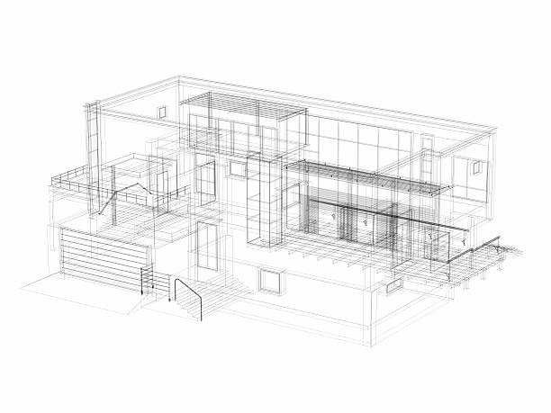 3d sketch architecture abstract villa - sketch stock pictures, royalty-free photos & images