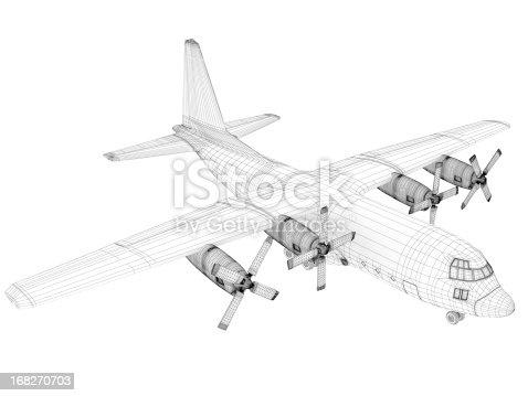 istock 3D Sketch architecture  Cargo Military Transport Airplane  Lockheed C-130 Hercules 168270703