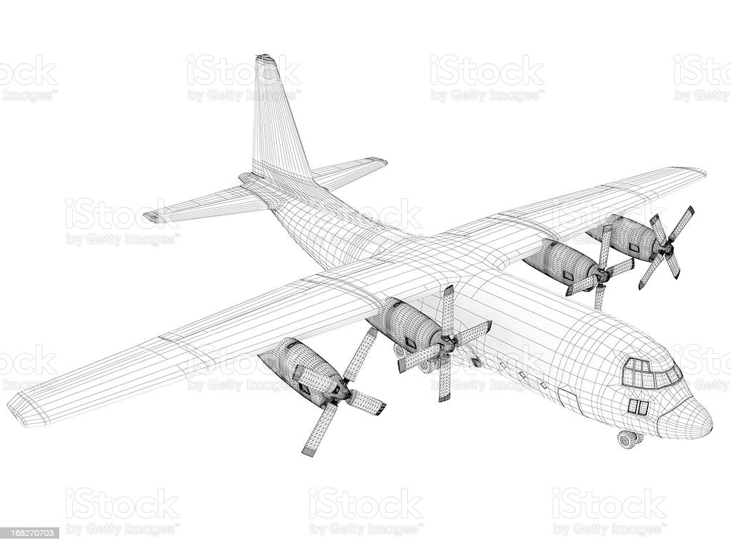 3D Sketch architecture  Cargo Military Transport Airplane  Lockheed C-130 Hercules stock photo