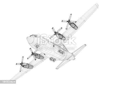 istock 3D Sketch architecture  Cargo Military Transport Airplane  Lockheed C-130 Hercules 184322624