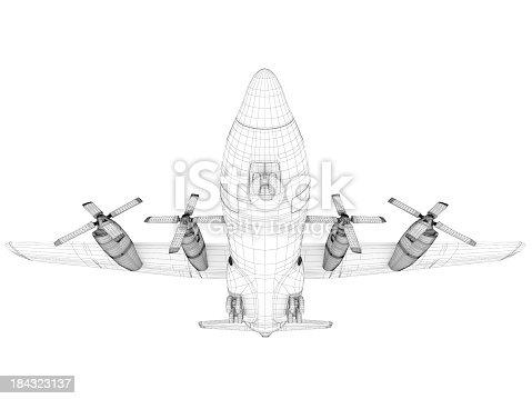 istock 3D Sketch architecture  Cargo Military Transport Airplane  Lockheed C-130 Hercules 184323137