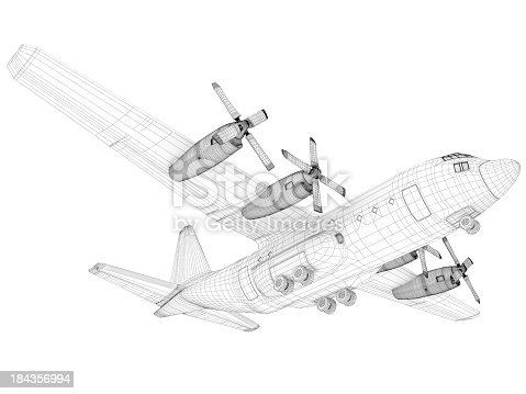 istock 3D Sketch architecture  Cargo Military Transport Airplane  Lockheed C-130 Hercules 184356994