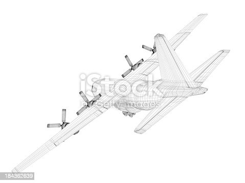 istock 3D Sketch architecture  Cargo Military Transport Airplane  Lockheed C-130 Hercules 184362639