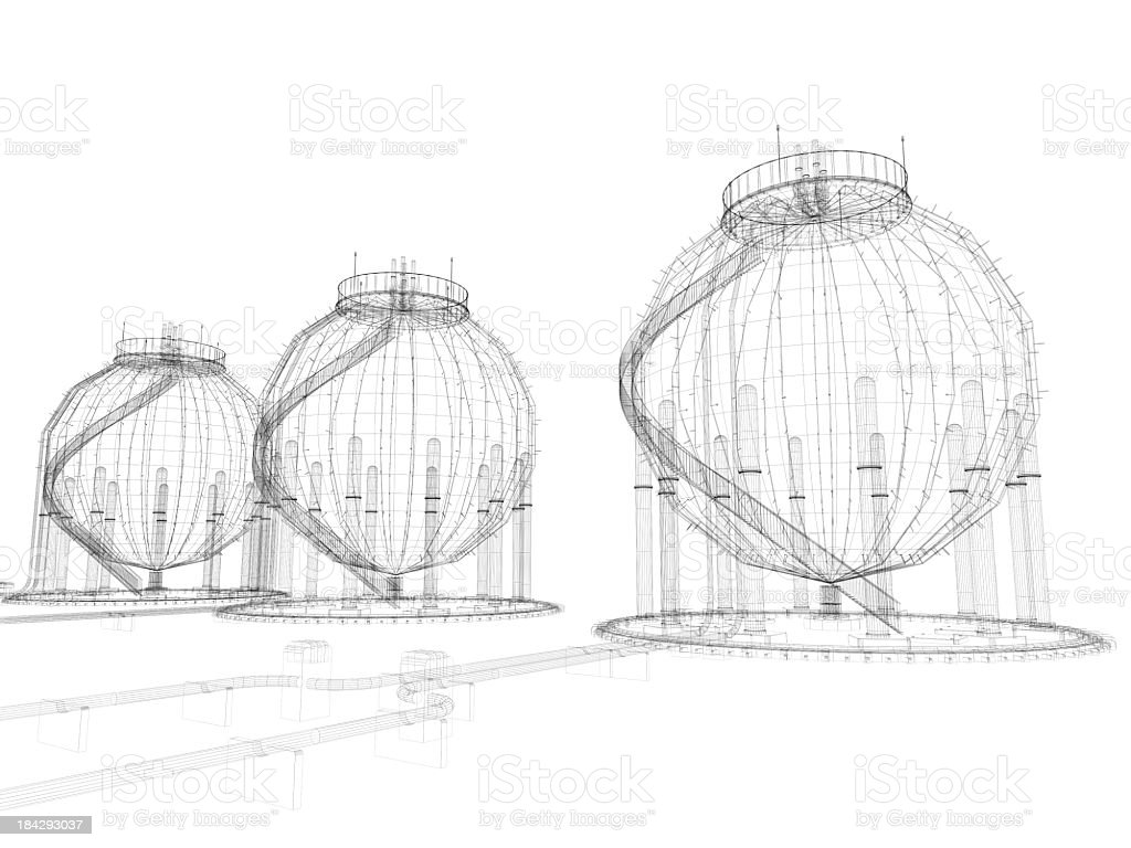 3D Sketch architecture Fuel Storage Tank royalty-free stock photo