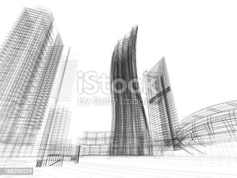 istock 3D Sketch architecture Imagination Blueprint 168255224
